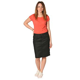 Ladies Denim Knee Length Skirt - Black Fashion Skirt (SKIRT56)