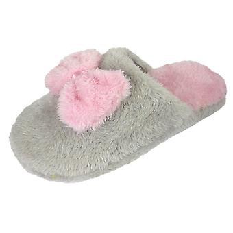 Coolers Womens Slip On Mule Slippers Warm Fleece & Bow Design With Fluffy Lining