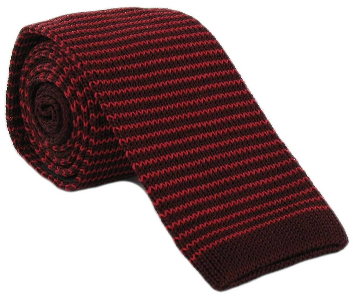 Michelsons of London Silk Knitted Thin Stripe Skinny Tie - Red