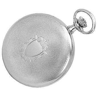 Woodford Chrome Plated Arabic Engine Turned Full Hunter Mechanical Pocket Watch - Silver