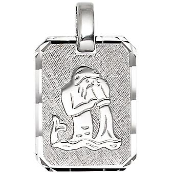 Trailer zodiac sign Aquarius 925 sterling silver rhodium plated partly frosted