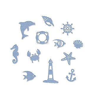 12 Sea Blue Nautical Beach Themed Felt Shapes for Paper Crafts