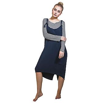 Pinafore with Striped T-shirt - Navy Dress One Size UK 8-12