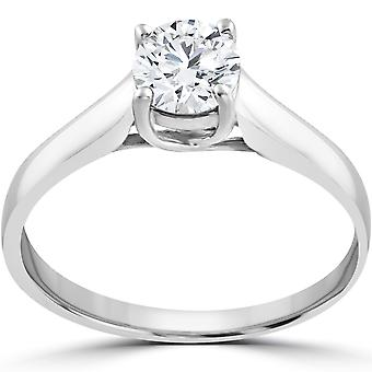 Solitaire Diamond Engagement Ring 1 Carat 14k White Gold Enhanced