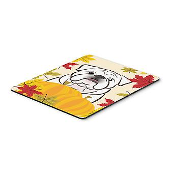 White English Bulldog  Thanksgiving Mouse Pad, Hot Pad or Trivet