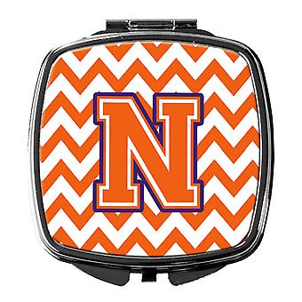 Letter N Chevron Orange and Regalia Compact Mirror