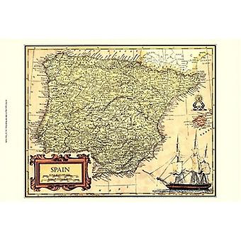 Spain Map Poster Print by Vision studio (19 x 13)