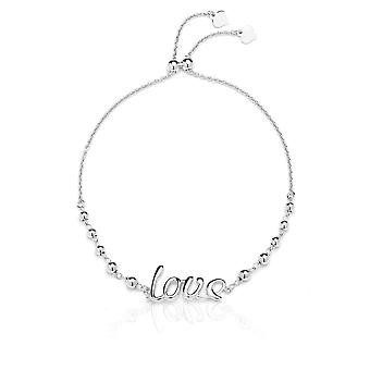Sterling Silver Adjustable Love Bracelet with Beads, , Expandable 9 Inch