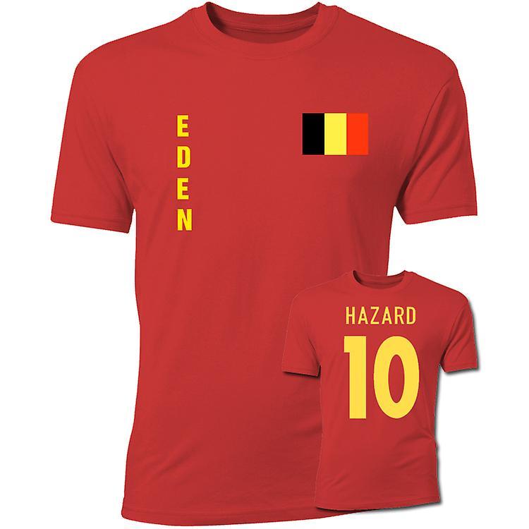 Eden Hazard Belgien-Flaggen-T-Shirt (rot)