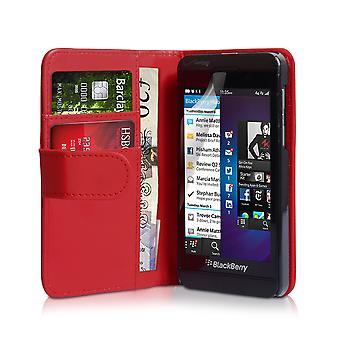 BlackBerry Z10 läder-effekt plånbok väska - röd