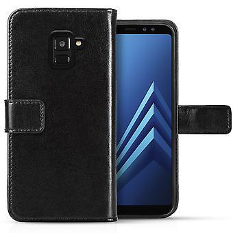 Галактика Samsung A8 (2018) реальный ID кожаный бумажник - черный