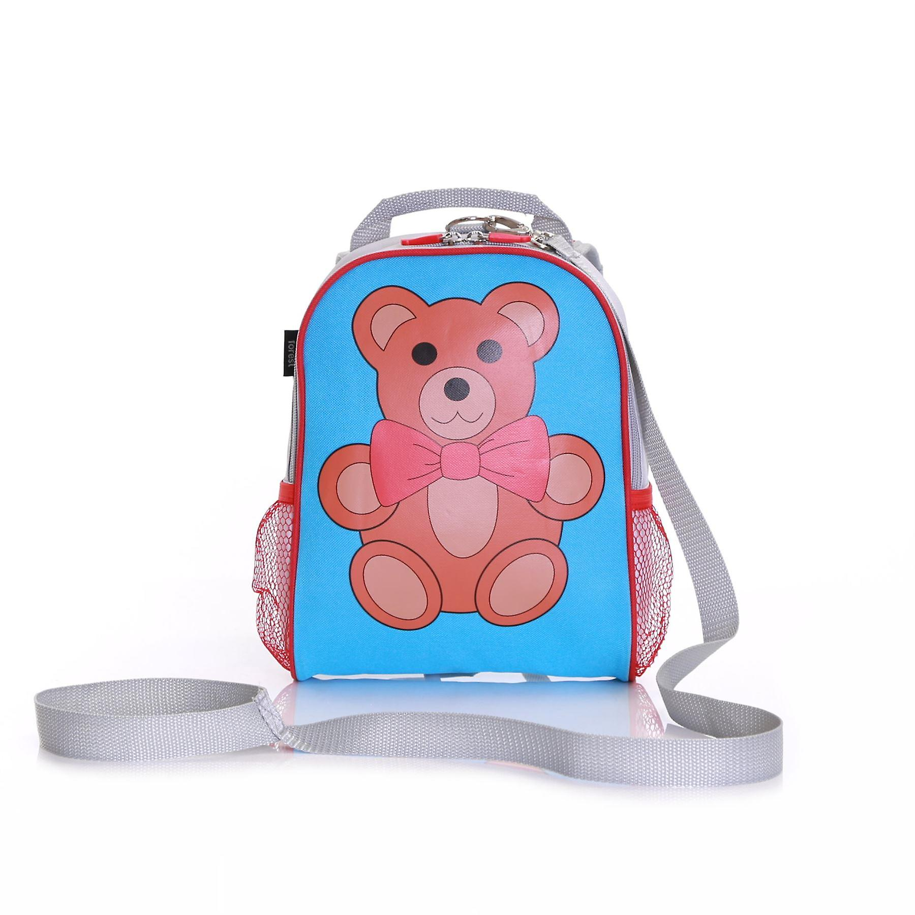 Wobbly Forest Teddy Toddler Backpack With Safety Rein, Blue/Red