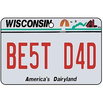 Wisconsin - Best Dad License Plate Car Air Freshener