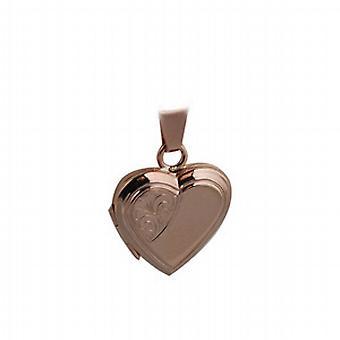9ct Rose Gold 17x17mm mezza mano inciso cuore piatto a forma di medaglione