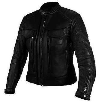 Women's Rigid Motorcycle Leather Jacket - Black