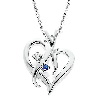 Blauwe saffier & Diamond Heart hanger 14 KT wit goud met 18