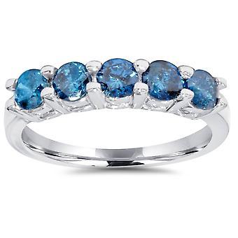 1ct blauwe diamanten bruiloft vijf stenen Ring 14k witgoud