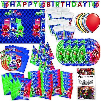 PJ Masks Party Set XL 73-teilig für 6 Gäste PJ Masksparty Geburtstag Deko Partypaket