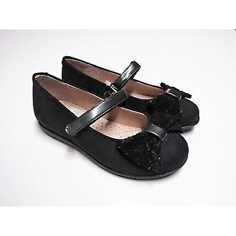 Garvalin Girls Black Leather Party Shoes With Sequin Bow