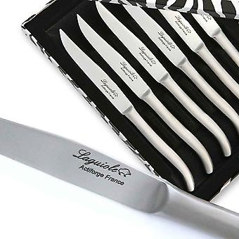 Box set of 6 flat stainless steel Laguiole steak knives with sandblasted finish Direct from France