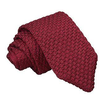 Granatina di Borgogna a maglia di seta cravatta Slim