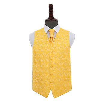 Gold Paisley Wedding Waistcoat & Cravat Set