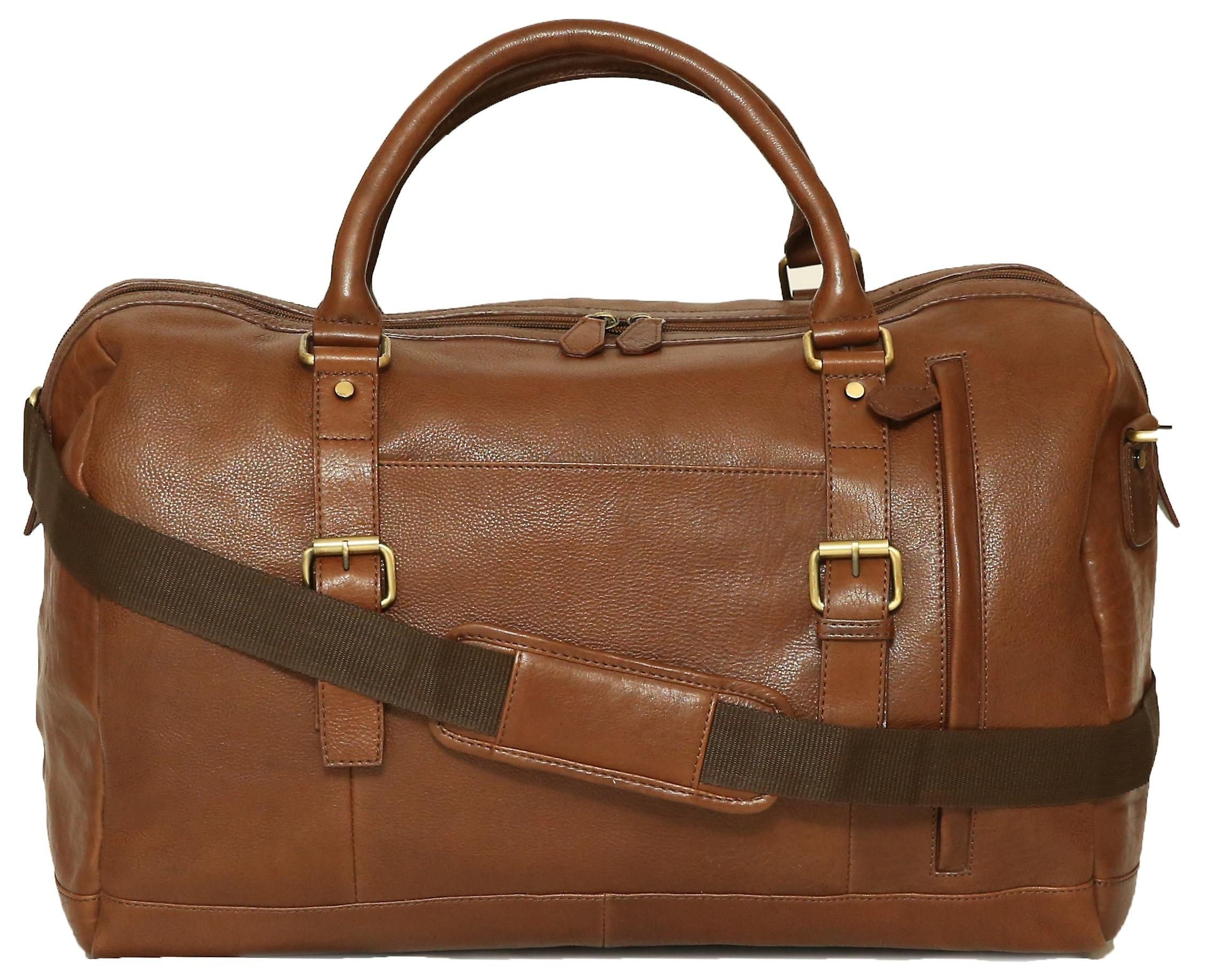Felda Genuine Leather Holdall Duffel Bag - Cabin Hand Luggage - With Front Pocket