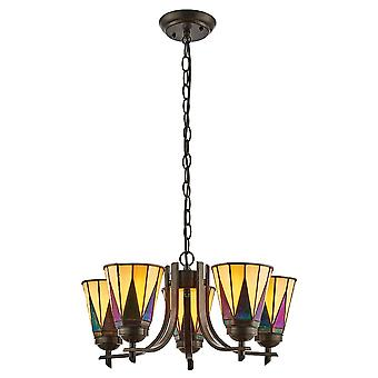 Interiors 1900 Dark Star 5 Uplight Tiffany Chandelier With Amber & Purple Glass