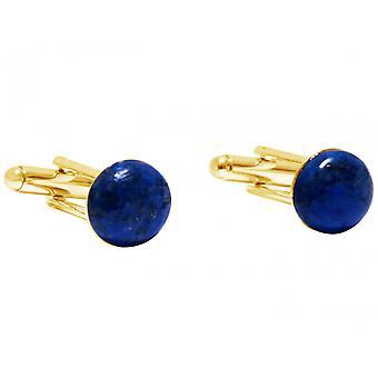 Gemshine Manschettenknöpfe Vergoldet Lapis Lazuli Blau 12 mm