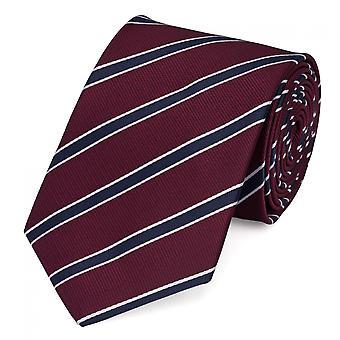 Schlips Krawatte Krawatten Binder 8cm dunkelrot blau weiß gestreift Fabio Farini