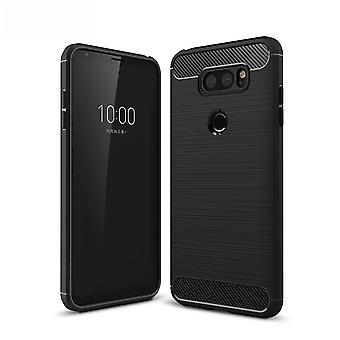 LG V30S TPU case carbon fiberoptik børstet etui sort