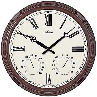 Atlanta 4448 wall clock quartz analog round antique vintage hygrometer thermometer
