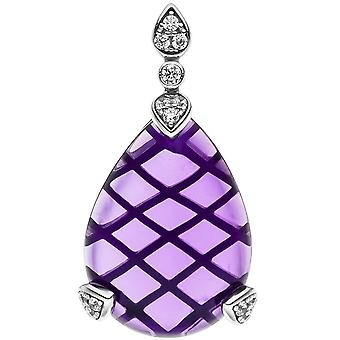 Trailer drop 925 sterling silver Amethyst 1 Purple 13 cubic zirconia