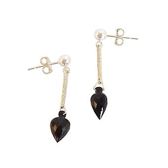 Ladies earrings 925 Silver Garnet drop faceted black 3 cm