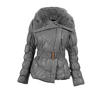 Damen gesteppt gepolsterte Kugelfisch Pelz kragen Belted Zip Womens warme Winterjacke