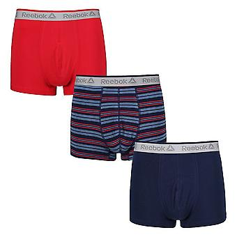 Reebok Gym Men's 3 Pack Short Boxer Trunks Navy Red Plain Stripe Tyson