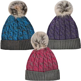 ProClimate Unisex vinter tykk strikkes Beanie Faux Fur Pom Pom boble luen