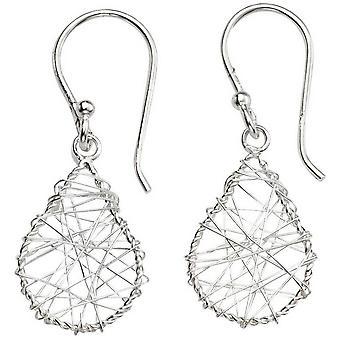Beginnings Wire Wrap Teardrop Drop Earrings - Silver