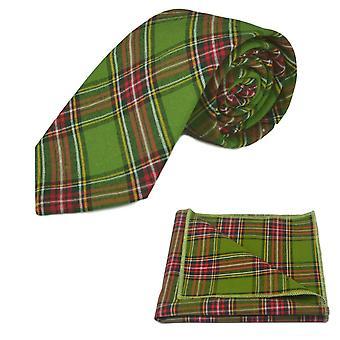 Traditionella grön Tartan slips & fickan torget ligger, Check, pläd