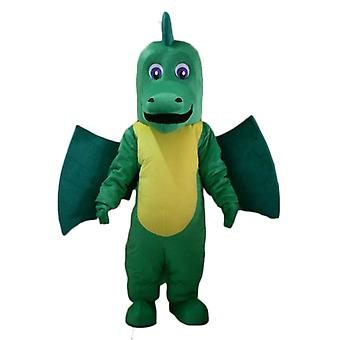 SPOTSOUND of green and yellow, giant and impressive dragon mascot