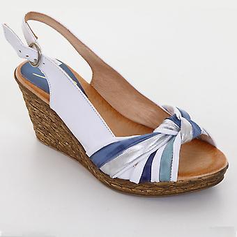 Dames Peep Toe knoop getextureerde middellange wig vrouwen Casual schoenen wiggen