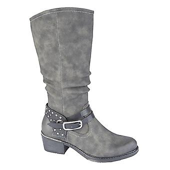 Ladies Womens Mid Block Heel Inside Zip Buckle High Leg Boots Shoes