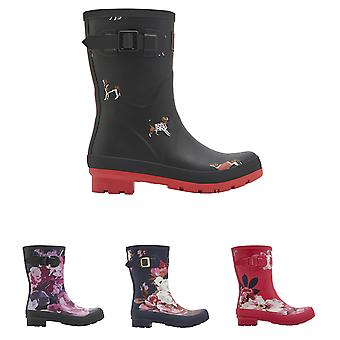 Womens Joules Molly Short Printed Wellies Waterproof Snow Mid Calf Boots UK 3-8