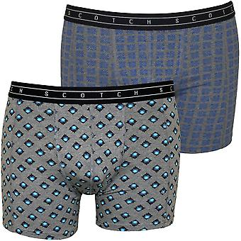 Scotch & Soda geometrischen Print Boxer 2er-Pack Slips Geschenk Set, grau/blau