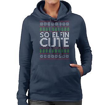 Christmas So Elfin Cute Knit Pattern Women's Hooded Sweatshirt