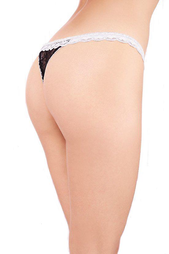 Waooh - Sexy Lingerie - String White and Black dentellle, satin ribbons