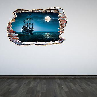 Full Colour Pirate Ship Smashed Wall 3D Effect Wall Sticker