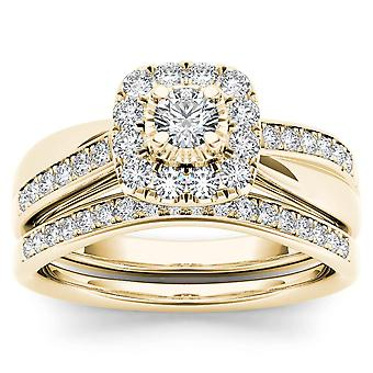 IGI Certified 14K Yellow Gold 5/8 CT TDW Diamond Halo Bridal Set(I-J, I2)