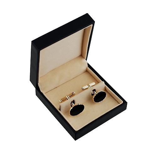 9ct Gold 12x17mm oval swivel Onyx set Cufflinks
