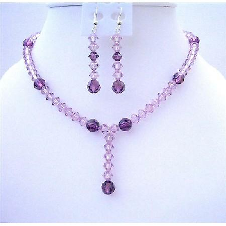 Swarovski Light & Dark Puprle Crystals Drop Down Wedding Jewelry Set